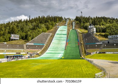 LILLEHAMMER, NORWAY - AUGUST 2, 2016: Ski jump slope Oslo, known as Lysgardsbakken, opened in 1993, specifically to the XVII Olympic Winter Games in 1994. Now the centre of winter sports in Norway