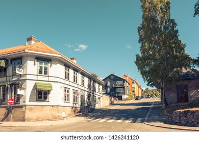 Lillehammer, Norway - August 5 2018: Street view in Lillehammer, vintage look