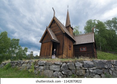 Lillehammer, Norway, circa june 2016: Maihaugen oper air museum with traditional houses in Lillehammer, Norway