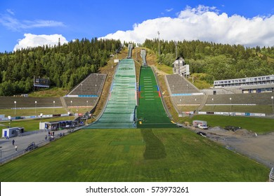LILLEHAMMER, NORWAY - JULY 6, 2016: This is ski jump in Lillehammer, known as Lysgardsbakken, opened in 1993, specifically to the XVII Olympic Winter Games.