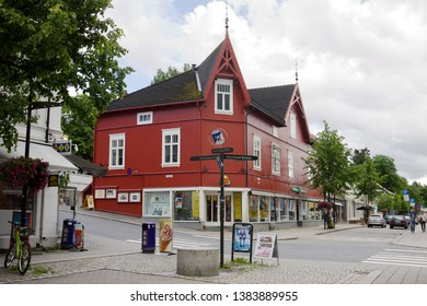LILLEHAMMER, NORWAY - JUNE 23, 2013: A beautiful wooden house in Lillehammer city. Lillehammer is a city in Norway. It is the center of winter sports.