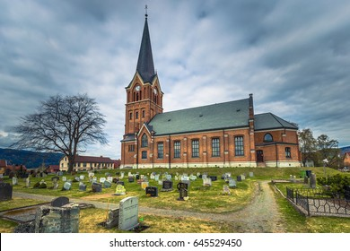 Lillehammer, Norway - May 13, 2017:  Church of Lillehammer, Norway