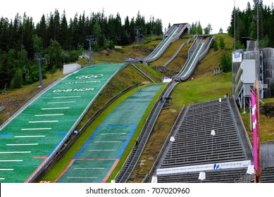 LILLEHAMMER, NORWAY - MAY 31, 2011. Lygardsbakkene ski jump in Lillehammer, with advertising billboards.
