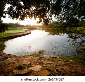 Lilly Pond on a Golf Course at Sunrise