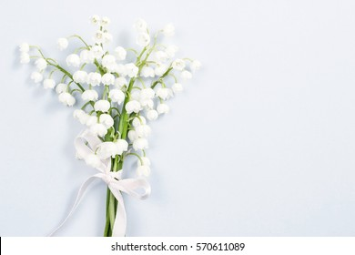 Lilly of the valley flowers, copy space