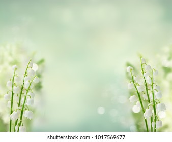 Lilly of the valley flowers ob blue bokeh background