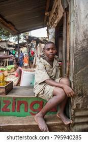 LILONGWE, MALAWI - SEPTEMBER 05 2009: A Malawian child at a local food market.