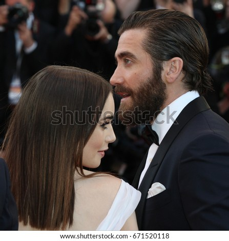 20ebbcdb0 Lily Collins and Jake Gyllenhaal attend the Okja screening during the 70th  annual Cannes Film Festival