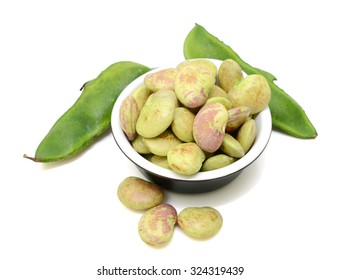 Lima beans isolated on white background