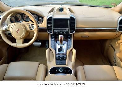 LIMA, PERU - 15th MAY 2015 : Espectacula interior of a Porsche Cayenne Turbo