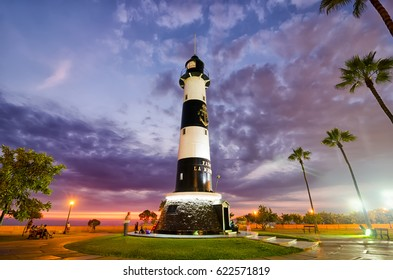 LIMA, PERU, 21 FEBRUARY 2017: view to light house at the sunset in Miraflores district at night