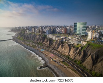 Lima, Peru: aerial view of Miraflores district and Larcomar.