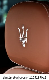 LIMA, PERU - APRIL 21, 2018: Maserati automobile grille. Maserati is an Italian luxury car manufacturer. New Store in San Isidro.