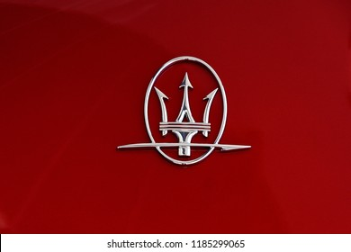 LIMA, PERU - APRIL 21, 2018: Maserati automobile grille. Maserati is an Italian luxury car manufacturer. New Store in San Isidro.