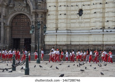 Lima / Peru: April 26 2019: Children are going to an excursion in the Monastery of San Francisco