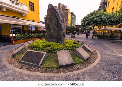 Lima, Peru - August 15, 2017: Monument in the old town of Lima, Peru