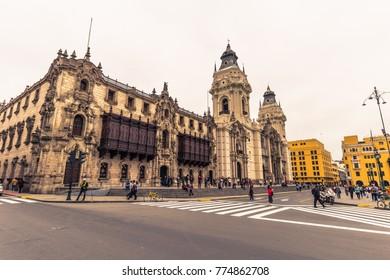 Lima, Peru - August 15, 2017: Historic center of Lima, Peru