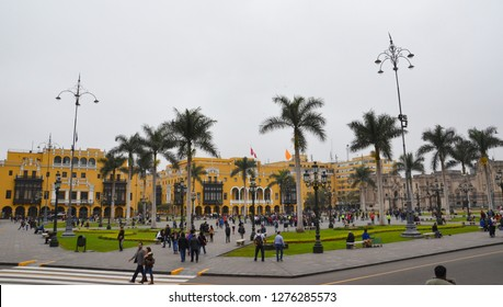 LIMA / PERU, August 18, 2018: People walk in the Plaza de Armas of Lima