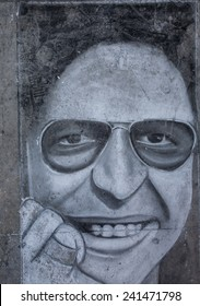 LIMA, PERU - CIRCA 2013: A drawing on the sidewalk shows Hector Lavoe circa 2013, in Lima, Peru.