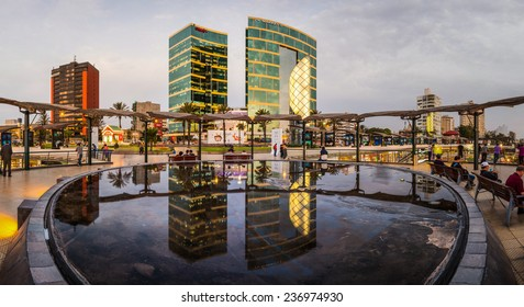 LIMA, PERU - CIRCA 2014: Larcomar water mirror and the Marriot hotel at the background circa 2014, in Lima, Peru.