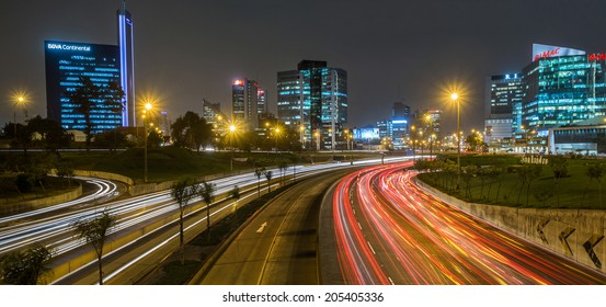 LIMA, PERU CIRCA 2014: Night view of skyline in San Isidro district and Lima highway  circa 2014 in Lima.