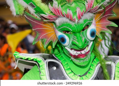 LIMA, PERU - CIRCA 2015: Dancer with mask at Virgen de la Candelaria  parade circa 2015 in Lima, Peru.