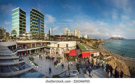 LIMA, PERU - CIRCA 2015: Panoramic view of Larcomar and the green coast circa 2015 in Lima, Peru.