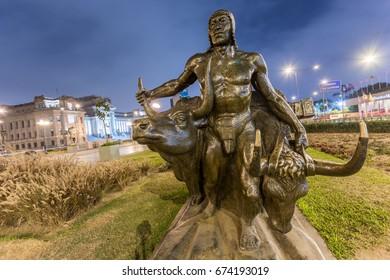LIMA, PERU - CIRCA 2015: Statue of a man with two bulls in the Paseo de la Republica Avenue circa 2015, in Lima, Peru.