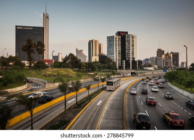 LIMA - PERU CIRCA 2015: View of San Isidro district skyline and freeway at the afternoon circa 2015 in Lima.