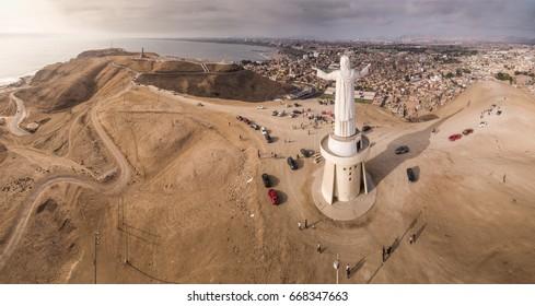 LIMA, PERU - CIRCA 2016: Aerial view of Cristo del Pacifico and the city as background circa 2016, in Lima, Peru.