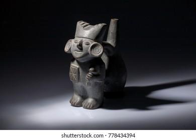 LIMA, PERU - CIRCA 2017: A precolumbine  ceramic of the Moche culture circa 2017 in Lima, Peru