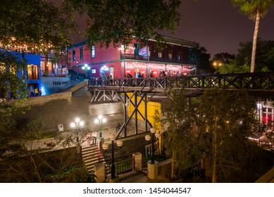 Lima, Peru - Circa 2019: The old bridge of Barranco Town circa 2019  in Lima, Peru.