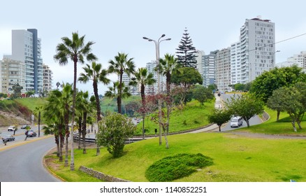 Lima, Peru. Crossroad and view at the street of Miraflores district from Barranco