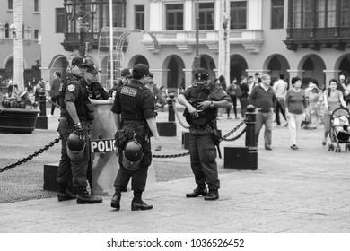 LIMA, PERU - DEC 12TH 2015: Police in the Plaza de Armas of the city of Lima, Peru. 2015.
