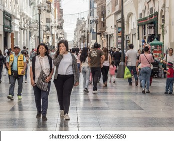 Lima, Peru - December 07, 2018: People on the street of lima before Christmas time.   Peru, South America. Latin America