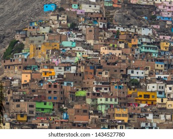 Lima, Peru - December 07, 2018:  Part of shanty town on side of Cerro San Cristobal, Andes Mountain,  Lima, Peru