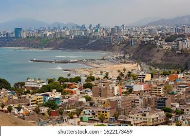 LIMA, PERU - December 2019: Lima skyline, aerial view of Lima city, Pacific ocean coast, Lima beach, Peru