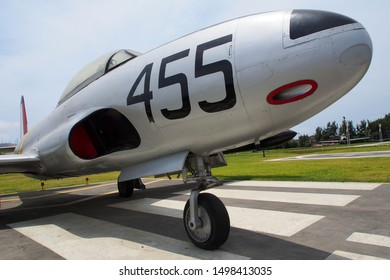 Lima, Peru - December 26, 2018: Front view of the Lockheed P-80 Shooting Star jet fighter aircraft.