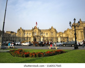LIMA, PERU - DECEMBER 27, 2016: the Government Palace at Plaza Mayor or Plaza de Armas square