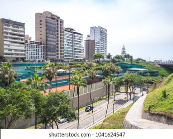 Lima, Peru - December 31, 2016: View of the Terrazas tennis club in Lima