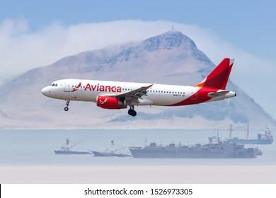 Lima, Peru – February 1, 2019: Avianca Airbus A320 airplane at Lima airport (LIM) in Peru.