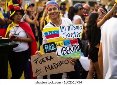 Lima, Lima / Peru - February 2 2019: Venezuelan women at protest holding a sign against Nicolas Maduro
