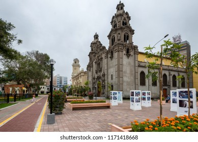 LIMA, PERU - JAN 20: The Virgen Milagrosa Church in Parque Kennedy in Lima, Peru on January 20, 2017. The park is named after American president John F. Kennedy.