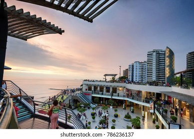 LIMA, PERU - JAN 21: Larcomar shopping mall in Miraflores district of Lima, Peru on January 21, 2017. The mall is known for being constructed into a cliff.