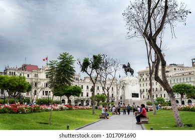 LIMA, PERU - JAN 21: Plaza San Martin in Lima, Peru, on January 21, 2017. The plaza is at the heart of the city's historic center.