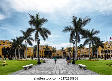 LIMA, PERU - JAN 21: Plaza de Aramas in Lima, Peru, on January 21, 2017. The plaza is at the heart of the city's historic center.