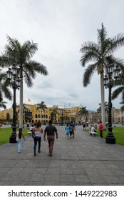 LIMA, PERU - JAN 21: Plaza de Armas in Lima, Peru, on January 21, 2017. The plaza is at the heart of the city's historic center.