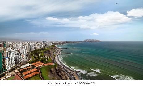 LIMA, PERU - January 2020: Aerial view of Lima coast. Paragliding over Lima city, Miraflores, Peru