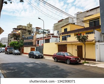 Lima, Peru January 29th, 2018 : Styles of buildings and houses of Miraflores in Lima - Peru