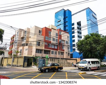 Lima, Peru January 29th, 2018 : Av. Angamos in Miraflores, and styles of buildings and houses